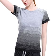 7,28 EUR, inkl. Versand: VEAMORS 5 Colors Women Sports Yoga Shirt Breathable Gym Running Fitness T shirt, Gradient Color Quick Dry Tops Short Sleeve Tees on Aliexpress.com   Alibaba Group