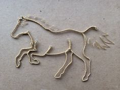 Wire Horse Ornament Silver and Gold Achilles by WyreWithATwist, $29.99