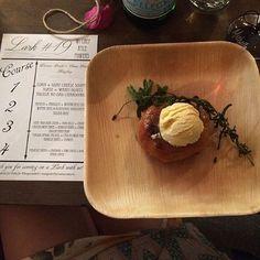 Course 4: melon ice cream/lavender/kiwi coulis/donut. Say no more. Lark #19 at the gorgeous @shopheritage in Costa Mesa. #art #adventure  #design #communaldining #californiastyle #lark #larkartisanmarket #popup #dinnerparty #chefsmenu #chefkylepowers #winepairing #tolosawine #local #sustainable #create #collaborate #inspire #goodtimes #goodvibes #costamesa #orangecounty #california #spring2016