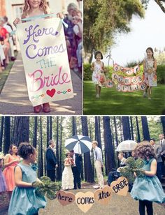 "Flower girls and ""Here Comes The Bride"" banners <3"