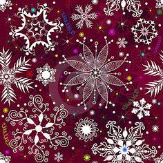 Seamless purple christmas pattern by Olga Drozdova, via Dreamstime