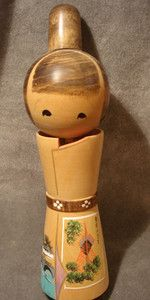 "Tall Wooden Kokeshi Sosaku Doll 1960""s collection"