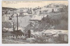 POSTCARD COLORADO BULL HILL SHOWING CRESSON MILL IN FOREGROUND VICTOR MINING