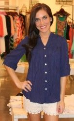 Pleated Tunic- Navy and Lace shorts!  WOW