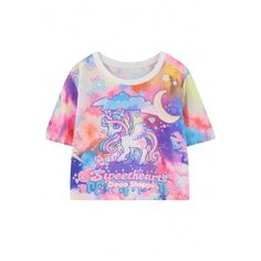 Dreamy Color Unicorn Print Crop T-Shirt ($21) ❤ liked on Polyvore featuring tops, t-shirts, crop t shirt, round top, short crop tops, unicorn crop top and unicorn t shirt