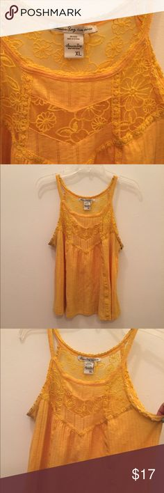 Yellow detailed tank top blouse Gorgeous yellow color, lace vintage detail on neckline, perfect for underneath cardigans or blazers American Rag Tops Blouses