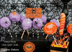 sticky spider webs- cotton candy, striped paper straws, spider rings