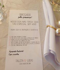 Agradecimento na mesa dos convidados de casamento. Super simples de fazer, confira no blog: http://www.oolhaisso.com/2014/09/especial-meu-casamento-detalhes-em-diy.html