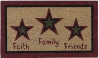 """Faith Family Friends Doormat by Primitive Home Decors. $19.95. Faith Family Friends Doormat 29"""" Wide x 17"""" Long 70% Coir 30% Vinyl Durable coir bristles. Absorbs moisture and traps dirt. Mildew resistant. Hand painted colorfast non-toxic dyes. Skid resistant. Priced and sold individually. Designed and manufactured b"""