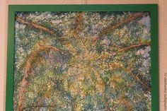 Купить Когда древья были большими... - зеленый, Батик, картина, картина батик, картина для интерьера
