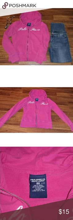 Ralph Lauren Polo Jeans Hoodie Ralph Lauren zip up hooded sweatshirt, size small. The hoodie is dark pink and it is in excellent used condition.  Fast shipping! Please check out the rest of my listings as I always have some really great clothes for sale! Thanks! Ralph Lauren Tops Sweatshirts & Hoodies
