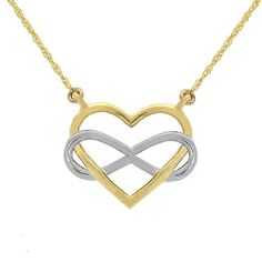 14k solid gold two tone heart necklace with infinity design. measures 3/4 in diameter on an 18 chain.