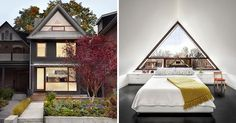 Canadian design firm +tongtong awere asked to renovate a traditional Victorian house in Toronto, and as part of that renovation, they replaced the original gable with a large triangular window that … Roof Design, House Design, Triangle Window, Gable Window, Roof Shapes, Surf, A Frame Cabin, Australian Architecture, House Photography