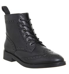 Office, Anagram Brouge Lace Up Flat Boots, Black Leather