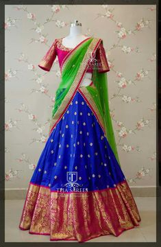 Lehenga Saree Design, Half Saree Lehenga, Lehenga Designs, Banarasi Lehenga, Kids Lehenga, Half Saree Designs, Saree Blouse Neck Designs, Choli Designs, Half Saree Function