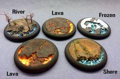 "Round Lip Bases: 40mm ""Lava Flow"":"