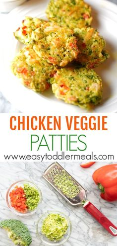 Chicken Veggie Patties I've created a healthier alternative to your everyday chicken nugget! You can prep these in as fast as 5 minutes and cook them up in about It's a quick and easy recipe that the whole family will love for lunch or dinner – try it! Easy Toddler Meals, Quick Easy Meals, Kids Meals, Easy Dinners, Toddler Food, Toddler Dinner Recipes, Clean Eating Snacks, Healthy Snacks, Healthy Recipes