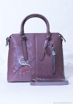 Buy Bag plum leather strap with hand-drawing bird on branch - bag Tighter Skin, Buy Bags, Bird On Branch, Bird Drawings, Plum, Leather Bag, How To Draw Hands, Stuff To Buy, Bird Paintings