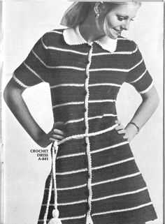 Stripped Crochet Dress Pattern 1970s by CrochetPatternRewind, $2.50