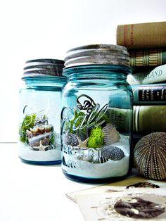 Mason Jar Terrarium: Moss, Seashells, and Lichens - Antique Ball Atlas Blue Glass Jar with Zinc Lid & Beach Scene Wedding Table Decor. $56.00, via Etsy.