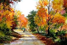 Connie Berberian - Autumn Stroll (watercolors)