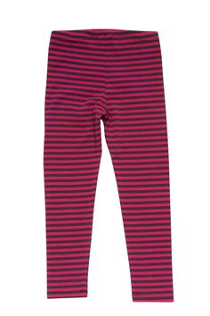 Basic knit leggings are a wardrobe staple, so it's nice to find some in a vibrant stripe! These are a happy combo of grey and hot pink that will jazz up any outfit! - These pretty, striped knit leggings will be comfortable and soft all day long - Elastic waist treatment for extra comfort - Perfectly pairs with any to from the Bon Vivant collection - Care Instructions: Machine Washable - Made with 58% Cotton/37% Polyester/5% Spandex