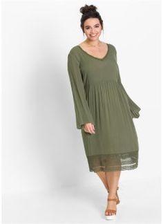 Midi-Kleid mit Spitze, RAINBOW, oliv