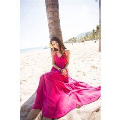 Summer Cotton Sleeveless Long Sundress V neck Casual Elegant Beach Dress