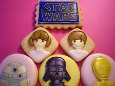 star wars cookies... @Leigh Ann McIlvain maybe you can try your hand at these for next years birthday party?!?!  Fun!!