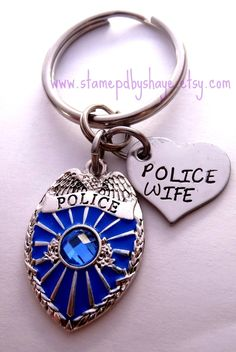 Police Wife Keychain Police Badge Law by StampedbyShaye on Etsy, $18.00