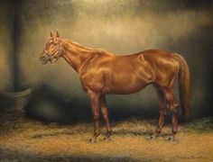 Chateaucreek, dam of the Epsom Derby winner Henbit, as painted by Christine Picavet
