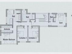 Grundriss DG #Designhaus Crichton von Baufritz. Vier helle, große Schlafzimmer befinden sich im Obergeschoss. Das Gästezimmer besitzt ein separates Badezimmer, genau wie der Master-Bedroom, an den sich zusätzlich eine Ankleide schließt. #floorplan