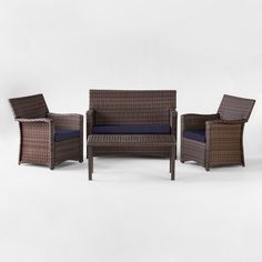Halsted 4pc All Weather Wicker Patio Conversation Set - Navy - Threshold™ : Target