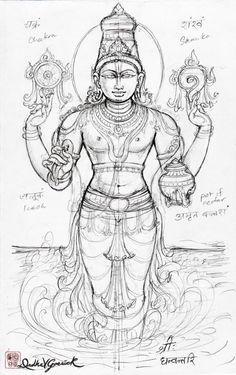 Kerala Mural Painting, Tanjore Painting, Kalamkari Painting, Indian Traditional Paintings, Indian Art Paintings, Outline Drawings, Art Drawings Sketches Simple, Goddess Art, Goddess Lakshmi