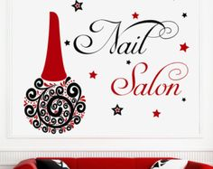 Custom Nail Salon Wall Decal Vinyl Sticker Manicure Polish Fashion Woman Girls Decals Murals Beauty Art Home Decor