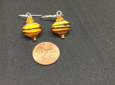 Black and Orange lampwork earrings, Glass bead Earrings, Tiger stripes Earrings, Leo Earrings, Oriole Earrings, Crystal and Glass Earrings