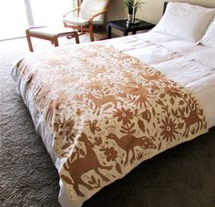 Otomi embroidered Bedspread perfect for Full or Queen size Bedspread or Tablecloth Original Mexican Textile hand embroidered from the Otomi area