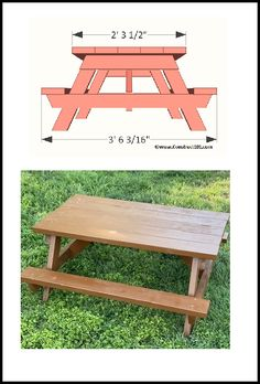 Kids picnic table plans. Plans include detailed drawings, instructions, and a free PDF download. Kids Wooden Picnic Table, Kids Picnic Table Plans, Diy Picnic Table, Detailed Drawings, Outdoor Furniture, Outdoor Decor, Woodworking Projects, Pdf, How To Plan