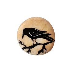 "100% hand painted ""Crow"" on pebble.  @Mahmut Cebi 2014. All Rights Reserved  Pebbles are picked up by me at the aegean sea coasts They all painted by hand with very small brushes so you can see all details. No any stencils or printing methods are used. I use only acrylic paints and they are protecting by 2-3 of varnish layer. So they do not have any damages from water.  All items will be"