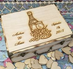 Large Rustic wedding guest book alternative / guest book / memory box / wood burned box / keepsake box/ WINE BOX / vinyard wedding