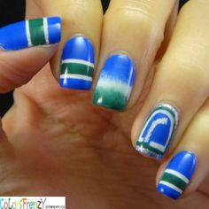 Colors Frenzy: Canucks Themed Mani