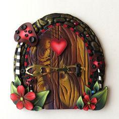 Toadstool Valentine Fairy Door Pixie Portal by Claybykim on Etsy