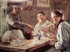 Anna Sahlsten (1837-1915) Kolme kahvia juovaa mummoa (Akat) / three lines of coffee Grandma (Akat) 1895 - Finland - drinking coffee from a saucer