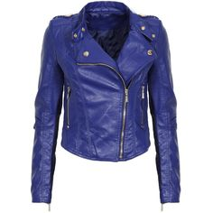 Blue Leather Look Biker Jacket ($63) ❤ liked on Polyvore featuring outerwear, jackets, tops, jaquetas, moto jacket, faux leather motorcycle jacket, vegan motorcycle jacket, motorcycle jacket and vegan moto jacket