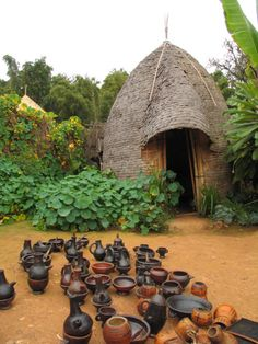 so many pottery in one place & that hut!