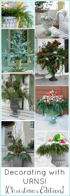 Decorating With Urns {Christmas Edition} - Fox Hollow Cottage Decorating With Urns {Christmas Edition} Beautiful Ideas for decorating with gorgeous urn arrangements inside the home, or on porches and entryways! Christmas Urns, Christmas Planters, Outdoor Christmas, Christmas Projects, Winter Christmas, All Things Christmas, Christmas Holidays, Merry Christmas, Art Floral Noel