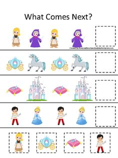 Cinderella themed What Comes Next preschool learning game. Printable homeschool activity for child. |