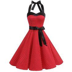DRESSTELLS Vintage 1950s Rockabilly Polka Dots Audrey Dress Retro... ($9.99) ❤ liked on Polyvore featuring dresses, cocktail prom dress, vintage prom dresses, retro cocktail dresses, homecoming dresses and vintage dresses