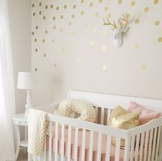Chambre b fille en rose et dor les id es d co lapingris fr is one of images from idee decoration chambre bebe fille. Find more idee decoration chambre bebe fille images like this one in this gallery Tan Nursery, Polka Dot Nursery, Cream Nursery, Polka Dot Walls, Nursery Room, Deer Nursery, Pink Gold Nursery, Gold Nursery Decor, Whimsical Nursery
