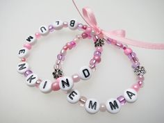 Accessoires - ♥Armband Blumenkind mit Name Hochzeit rosa rose♥ - ein Designerstück von Ainikki bei DaWanda